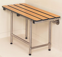 accessible shower bench fold down with legs, phenolic teak slatted
